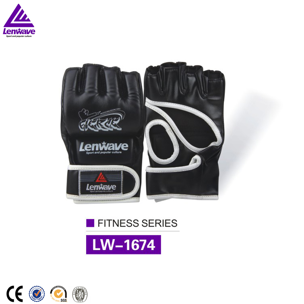 Lenwave PU leather boxing fighting gloves half fingers comfortable and durable boxing gloves