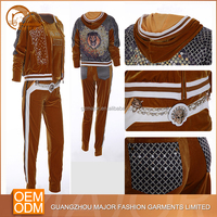 2016 latest design women cheap custom velour tracksuit set
