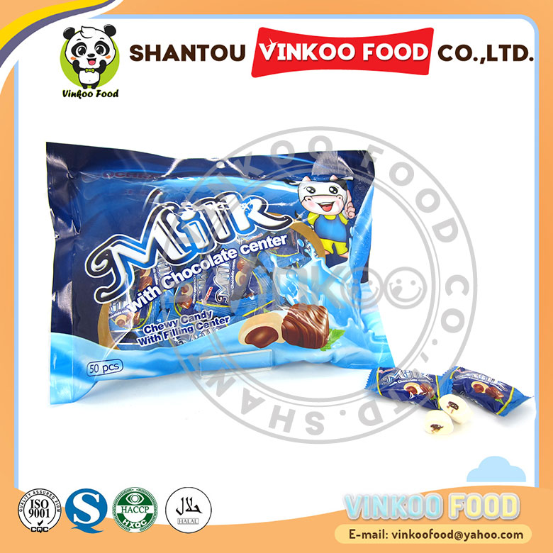 hot sale milk chewy candy with chocolate filling