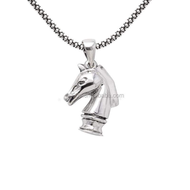 wholesale 925 Sterling Silver horse charm, Knight chess solid carve horse pendant