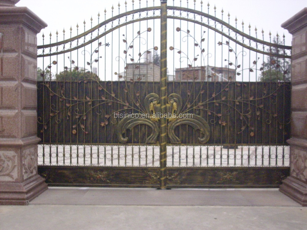 Bisini sliding design iron gate sliding main gate design for Decoration gate