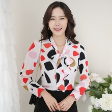 Butterfly Neck Design Tops Fashion Chiffon Printing Ladies Blouses