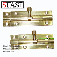 BRASS TOWER BOLTS SET WITH