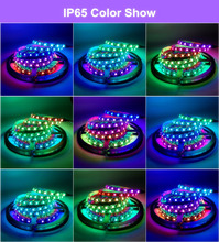 IP65 WS2811 LED Strip DC12V Black / White PCB 5050 RGB Smart IC Pixel Control WS2812B Led Strip Light