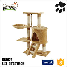 hottest selling beige color cat play products banana leaf cat tree plush material cat condo with sisal post