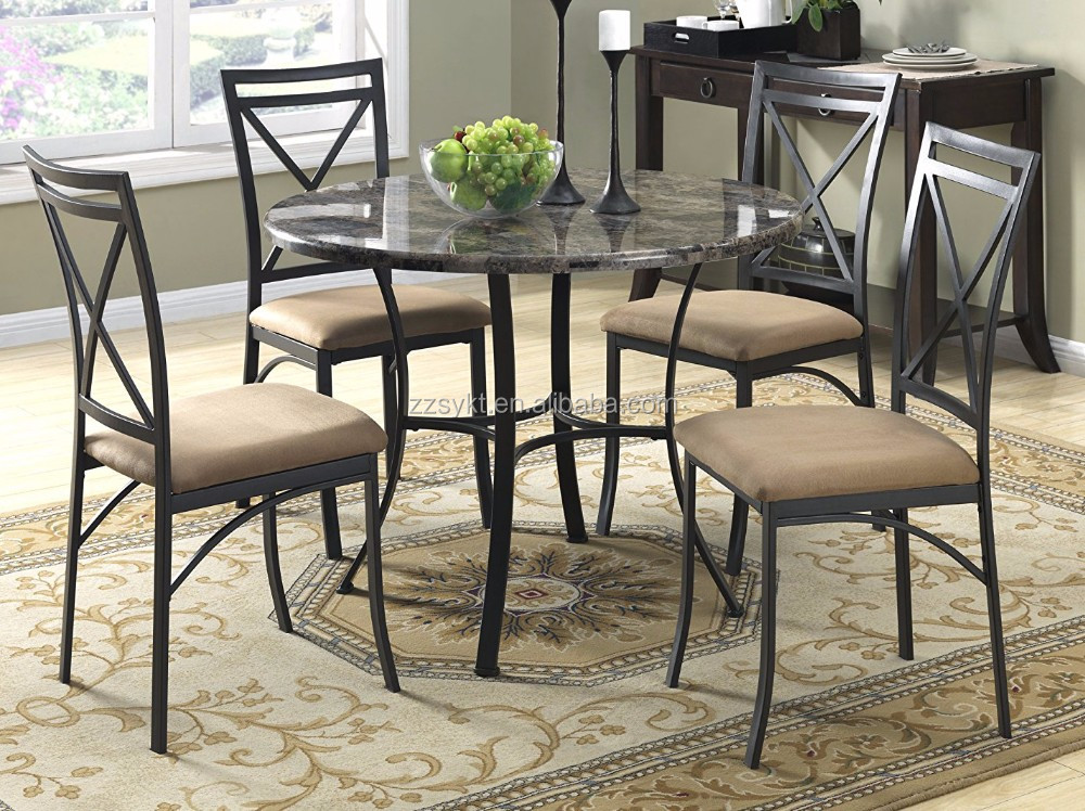 Faux marble top kitchen dining table chairs sets for sale