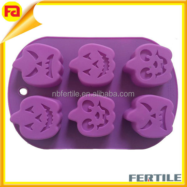 silicon mould 6-cavity Easter Pumpkin Shape ,Halloween Baking Mold Oven Safe Non Stick Silicone Pumpkin Cake Mold