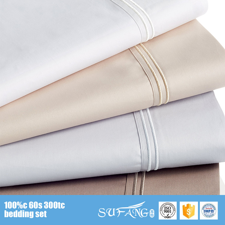 Nantong Sufang Hotel Bed Linen Supplier Plain White 100% Cotton Sateen Hotel Bed Sheets Wholesale