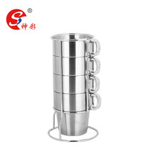 4 Pcs Stainless Steel Coffee Mugs Set - Stacking Coffee Cups