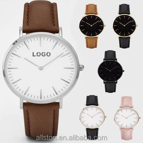 Print your logo minimal design stainless steel watch case 316l japan movt color genuine leather strap women watch