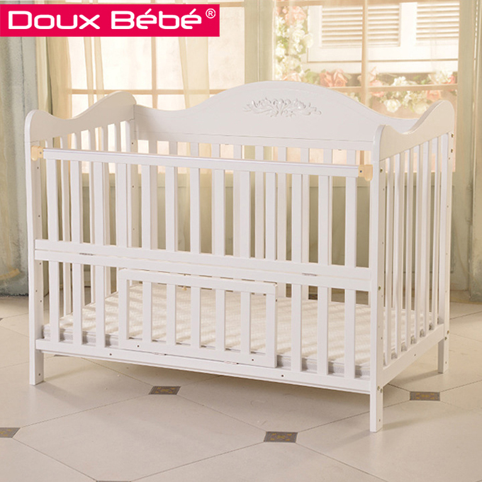 New born wooden baby bed 2017, bed extender for baby