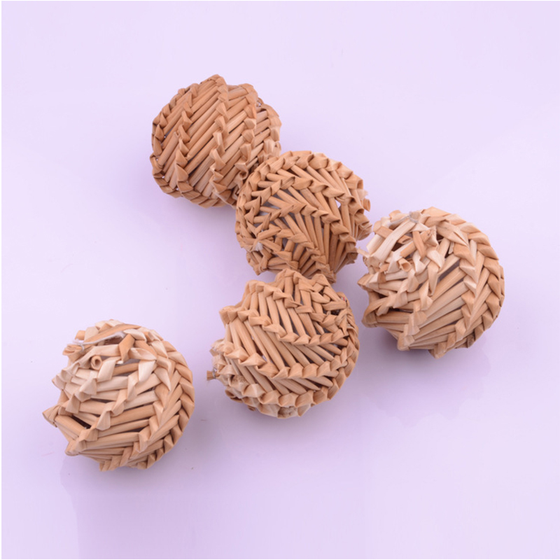 Natural Straw Woven Ball Cat Toy With Catnip Inside