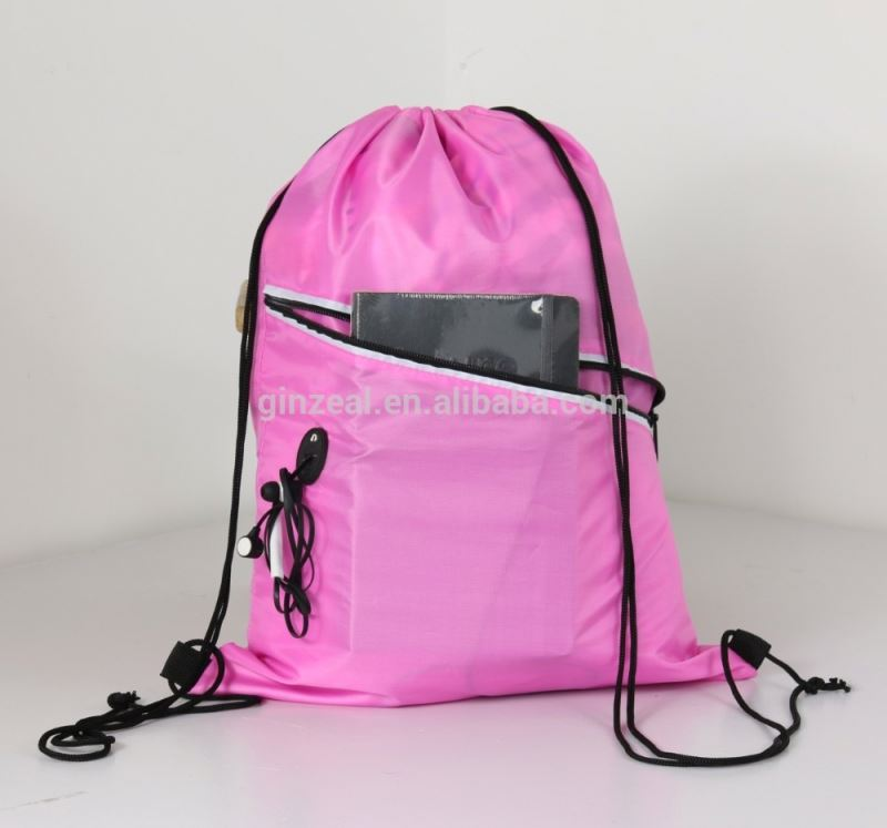 Multipurpose Gym Sack Nylon Drawstring Sports Bag With Zipper Pocket