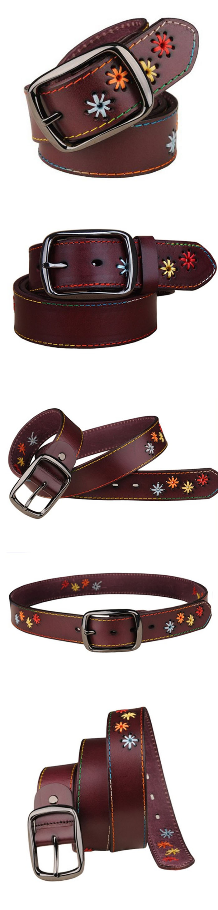 New style fashion leather embroidery belt for women