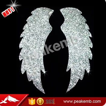 Bling Silver Glitter Wings Heat Transfer Vinyl Hotfix Designs for Adult Shirt