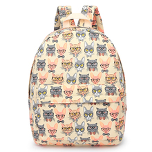 2017 china manufacturer wax canvas cartoon citi trends hot sell multifunctional vintage lady cat student backpack for girls