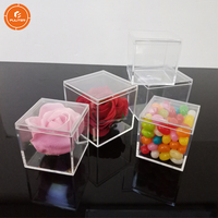 Square Clear Acrylic Storage Cube Small Candy Favor Box for shop
