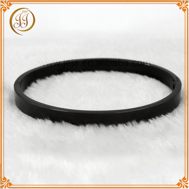 Bulk price stainless steel blank black bangle bracelet