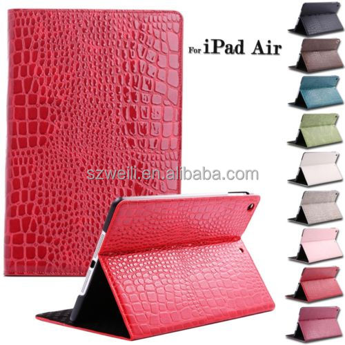 Crocodile Leather Flip Case Magnetic Smart Cover Stand for Apple Samsung Tablet
