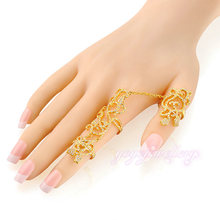 Fashion jewellery gold design latest two finger ring with price for women