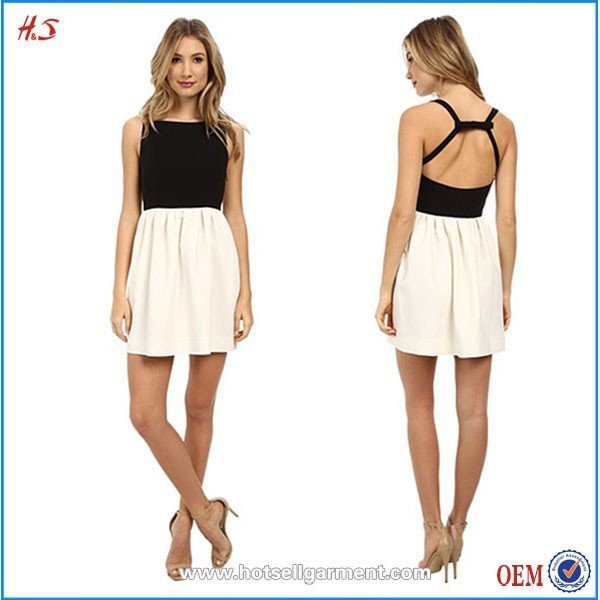 Latest Net Designs Sexy Nighty Black and White Color blocked Backless Casual Women Dress