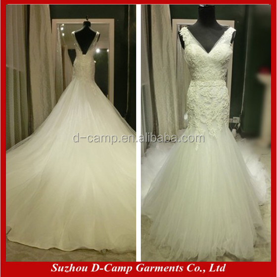 WD320 Wide shoulder straps v neck long train mermaid wedding gown for philippines wedding gown dress bridal