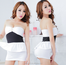 Sexy Club Wear Women Lingerie Fashion Bodysuit Mini white Dress Nightwear