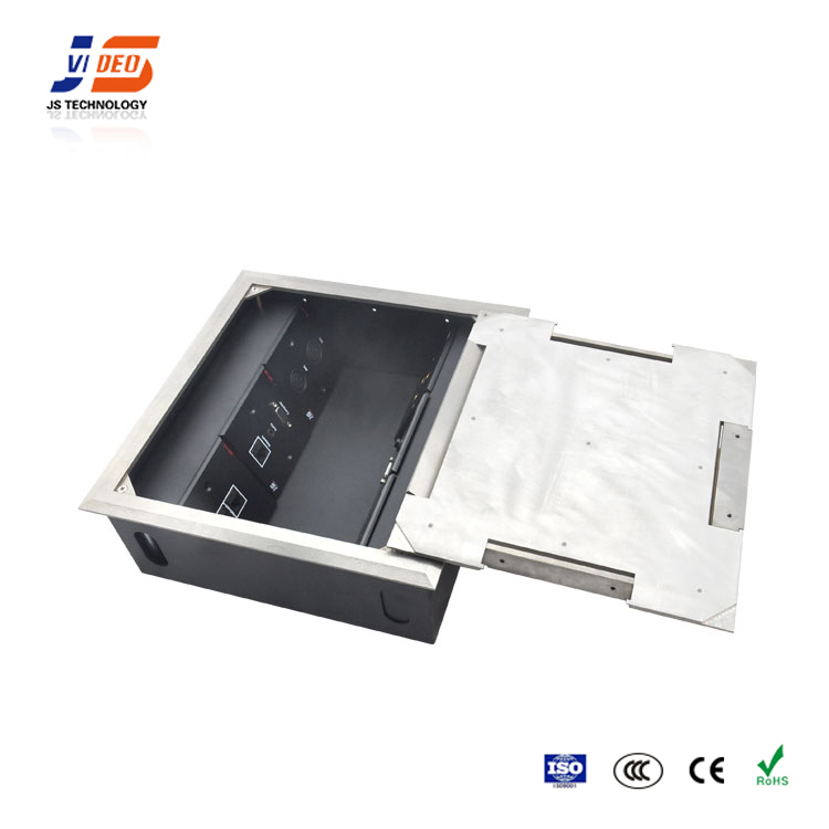 JS-DC600 Top Panel Closed And Opened Smoothly Electrical Floor Outlet Box