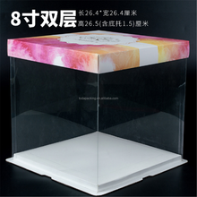 Corrugated cardboard box cake boxes with color design, transparent cake cookie boxes, Acrylic cake stand container tray