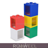 Promotion transparent square shape piggy bank to paper money with logo