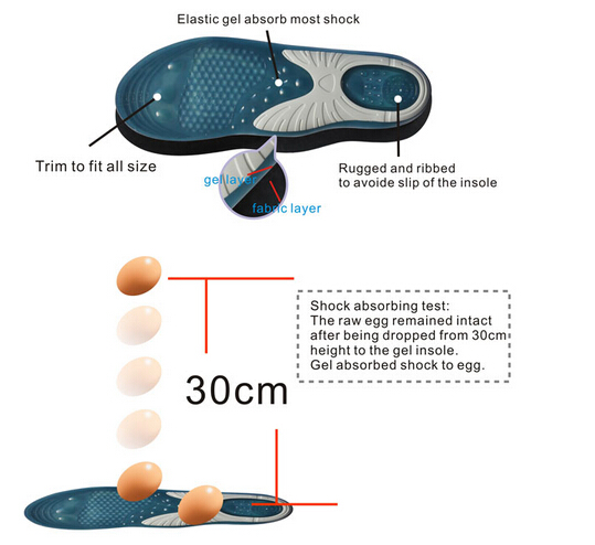 Silicone Gel Insole Massage Sports Insole Arch Support Orthopedic Insole for Shoes