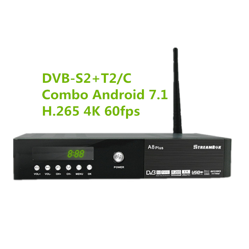 H.265 HDR10bit 4K 60fps Combo Android7.1 DVB-S2+T2/C Satellite TV Set top box