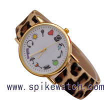 Lady Women Leather Quartz Analog Fashion Teenagers Promotional Watch Girls Leopard Watches