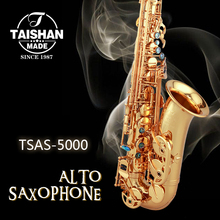 Professional Taishan 5000 Model Gold Lacquer Alto Saxophone Italian pads with Case