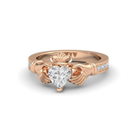 SJ Brand New SJ017 Romantic Brass Antiallergic Rose Gold Plated Hand Shape Good Cut Heart Cubic Zirconia Wedding Ring for Women