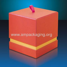 luxury card board cube candle gift box with handle