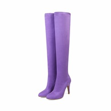 women hot sexy high heel stretchable lycra peep toe long boots in stock