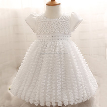 Hot Selling Lovely Solid Color Beaded 1 Year Old Baby Girl Birthday Party Dress