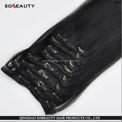 YBY Best Selling 2015 Full Cuticles Remy Double Weft 100% Human 36 inch hair extensions clip in