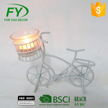 CH-31414 Made In China Superior Quality Special Design Widely Used Decorative White Metal Bicycle Candle Holder