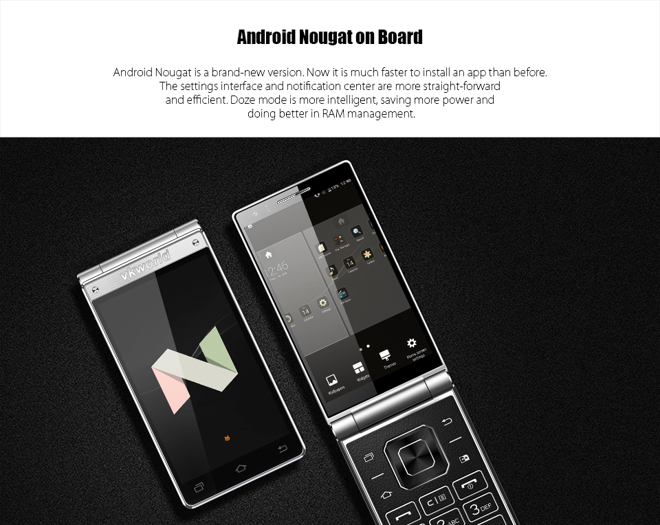 Latest Design 4.2'' Dual Touch Screen Keyboard Flip Phone vkworld T2 Plus 4G Android Mobile Phone 3+32G 2000mAh Oem Smartphone