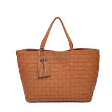 Custom women gender high quality pu leather woven ladies tote bags handbag