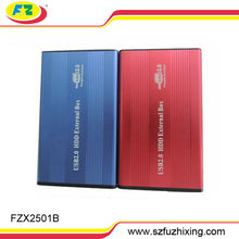 portable hdd enclosure 2.5 sata laptop drive case USB2.0 red/blue/black/silver