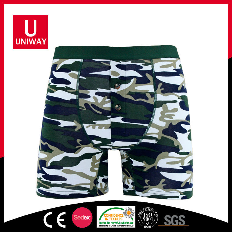 OEM Service Green Camouflage Custom Printed Mens Boxer Shorts