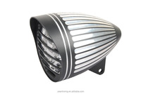 "5 3/4"" Black Aluminum Headlight with grooved lines and visor for Harley Davidson"