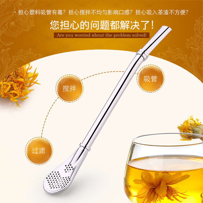 New design free sample stainless steel straw spoon for bar/ coffee/Filter spoon/Tea straws drinking straws