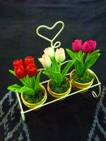 THAI CLAY FLOWERS, TINY TULIPS IN CLAY POT (MODEL NO.T020)