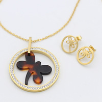 2018 Alibaba Stainless Steel Cute 18K Gold Plated with Dragonfly Jewelry Set