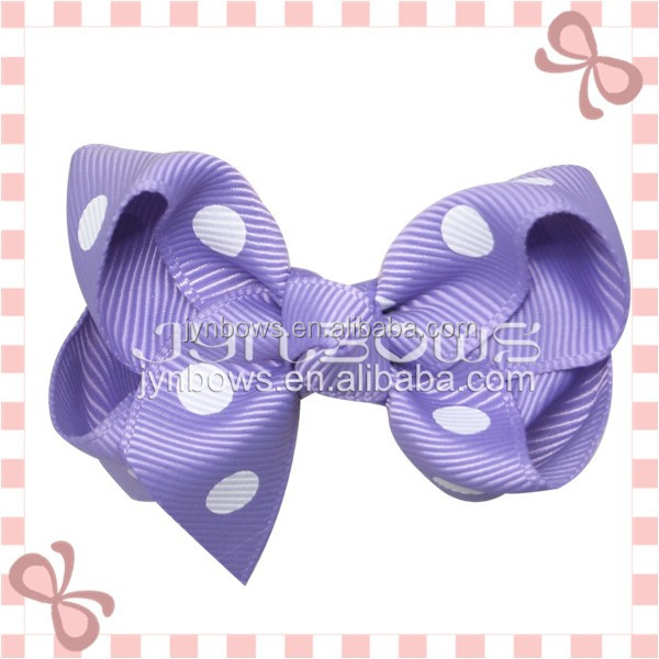 Light Purple,white polka dots hair clip boutique hair bows