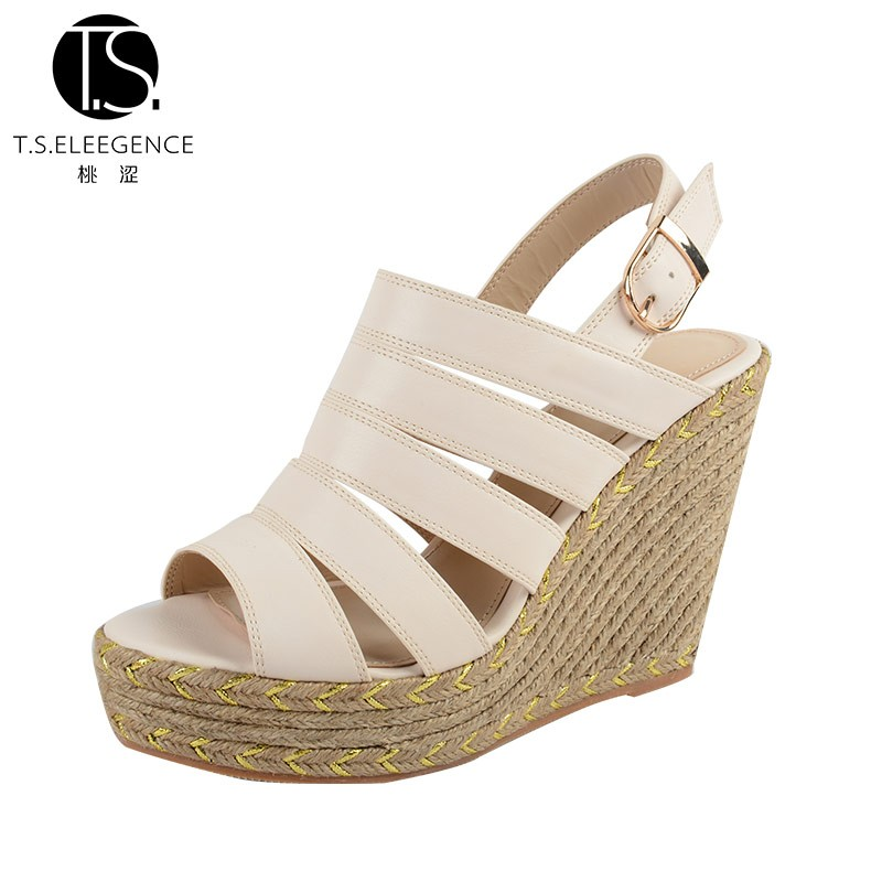 New Arrival 2016 Summer Fashion Women Shoes High Quality Straps Slingback Jute Sole Wedge Sandals Shoes for Ladies